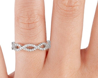 14k White Gold  Infinity Knot Micro Pave Diamond Deluxe -The original- Infinity Wedding Ring - 0.43ctw