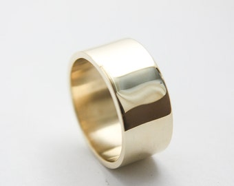 Polished Ring in 10k Yellow Gold / Large Gold Ring / Wide Ring / polished Ring / Gold Wedding Ring / Yellow Gold band / Large Gold band