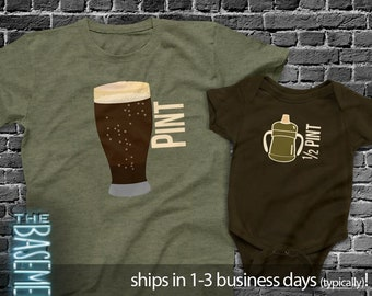 Matching Dad and baby kiddo shirt set - pint / half pint shirt set father's day DARK gift set - dad baby matching MDF1-009v