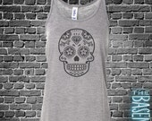 halloween Sugar skull flowy tank top - perfect for Halloween and Day of the Dead dia de los muertos