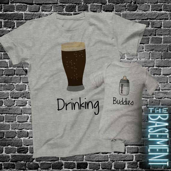 Matching Dad and baby kiddo shirt set - Drinking Buddies pint / half pint shirt set father's day set - dad baby matching E3ymwpFj