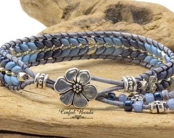 "6 3/4"" Blue Beaded Leather Bracelet - Boho Denim Blue Leather Wrap - Blue Herringbone Leather Bracelet - Stackable Leather Wrap (ST14)"