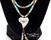 Heart Seed Bead Boho Leather Necklace - Turquoise, Beige, Cobalt, And Red Picasso Leather Bib Necklace - Tribal Leather Necklace (LN20)