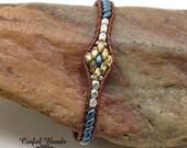 Skinny Beaded Leather Wrap Bracelet - Blue Superduo Leather Bracelet For Women - Southwest Leather Bracelet - (SK5)