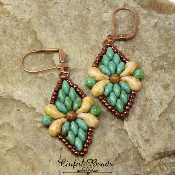 Superduo and Zoliduo Beaded Dangle Earrings - Turquoise Picasso Superduos -  Butter Pecan Zoliduos - Dark Bronze Seed Beads -Juliet Earrings
