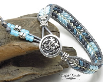 Blue And Gray Leather Wrap Bracelet, Beaded Leather Wrap With Superduos, Boho Leather Cuff For Women (SW133)