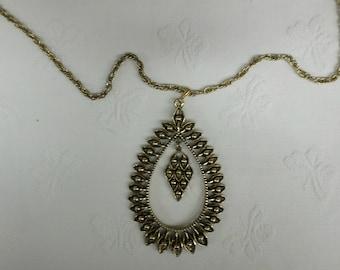 Unique Antique Brass Gold tone Pedent Necklace