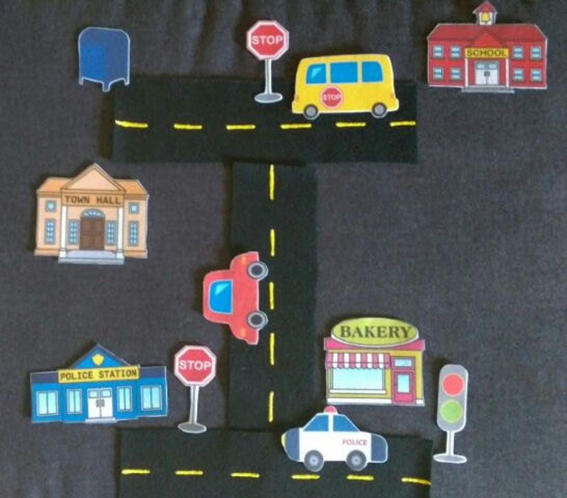 Around Town Community Felt Board Set// Flannel Board Story Set // Preschool  // Kids // Pretend Play // Transportation // Community Helpers