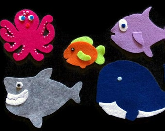 Slippery Fish Felt Set // Flannel Board Set // Preschool  // Colors // Creative Play // Imagination // Children // Pretend Play // Ocean