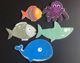 Slippery Fish Felt  //Flannel Board Pieces Pieces // Preschool  // Colors // Creative Play // Imagination // Pretend Play // Ocean