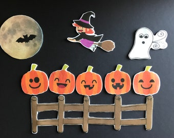 5 Little Pumpkins Felt Board Story // Flannel Board Pieces // Pretend Play // Quiet Time //  Storytime