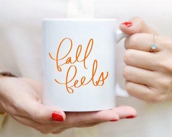 Automne sent Mug devis Mug à la main alphabétiques Mug tasse à café citation thé Mug cadeau cuisine Decor automne Decor Orange automne Mug