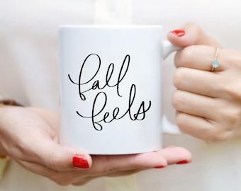 Automne sent Mug devis tasse à la main alphabétiques Mug tasse à café citation thé Mug cadeau cuisine Decor automne Decor automne Mug