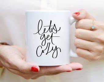 Lets Get couvre tasse devis tasse à la main alphabétiques Mug tasse à café citation thé Mug cadeau cuisine Decor automne Decor automne Mug