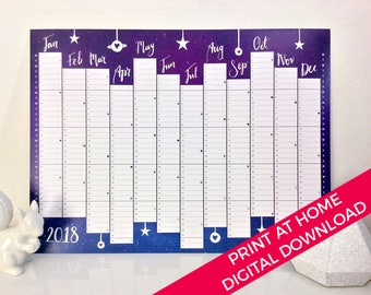 Twilight wall planner year 2018 calendar, digital download to print at home, size A3 and A2