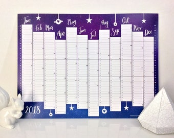 Twilight wall planner year 2018 calendar, digitally printed, available in A3