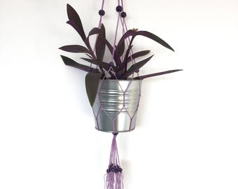 Lilac macramé hanging plant holder with black-berry coloured beads