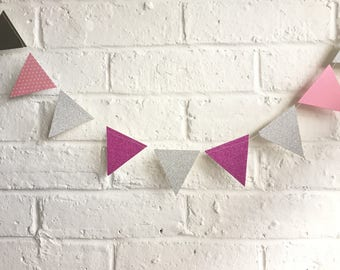 6 meters of glittery pink and silver handmade mini bunting