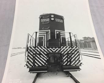 Black and white train photo