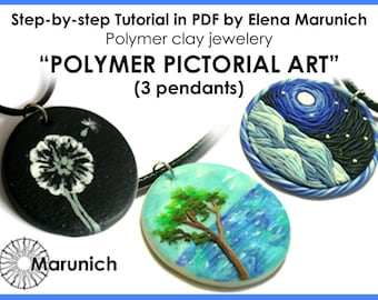 "Polymer clay tutorial ""POLYMER PICTORAL ART-3 pendants"" pdf"