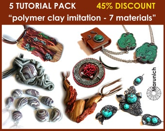 """5 TUTORIAL PACK (PDF) with 45% discount """"imitation - 7 materials"""" - polymer clay jewelry + tutorial """"fittings for assembling accessories"""""""