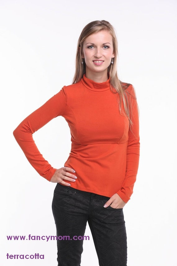 cute cheap new lower prices outlet store Terracotta Breastfeeding Top, Burnt Orange Nursing Polo Tops for  Breastfeeding, Nursing Clothes, Nursing Turtleneck High Neck Top