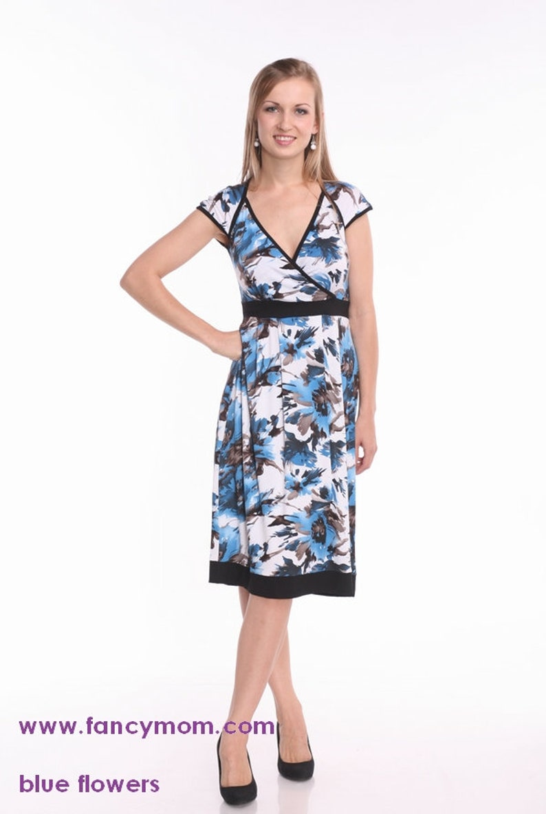 56bdcd58604 Nursing Dress Breastfeeding Dress Maternity Dress in Blue