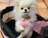 Puppy Harness, Tiny Teacup Princess Dog Vest w Tiara, 2 to 3 Lbs XXS, Crochet Cotton Vest