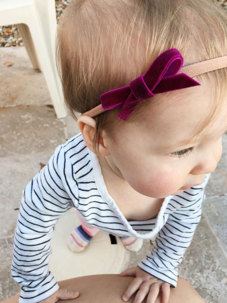 Baby Girl Bows Infant Bow Headband Set of Five Nylon Elastic Headbands Custom Set Velvet Ribbon Baby Girl Headband Baby Headband