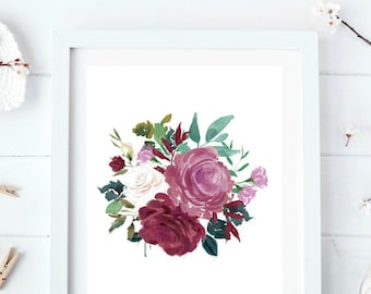 Watercolor floral print, Rose wall art, Flower wall decor, Shabby chic decor, Farmhouse printables, Country chic decor, Rustic wall art