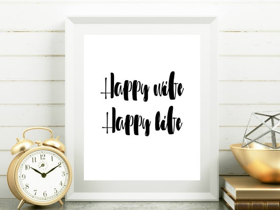 Happy Wife Happy Life Quotes About Family Marriage Printable Etsy
