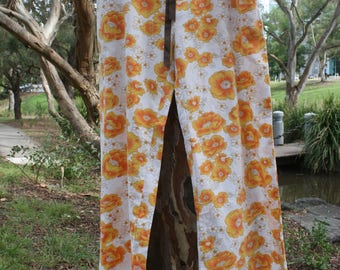 Funky 70s Orange Floral Print PANTS Lounge PJ Pyjama Casual Comfy  light-weight Unique Up-cycled Vintage Sheets - with POCKETS!! Small only 0d72f30b8