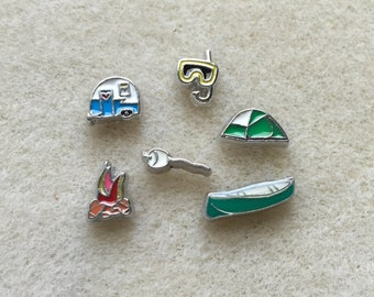 Floating Charm for Necklace Locket Camping Tent Marshmallow Fire Camper Trailer Snorkel Canoe