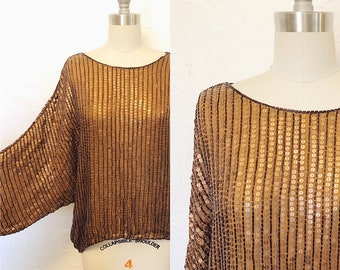 a3f201da6b0 1970s Vintage Handmade Silk Sequin Blouse Top Made in India