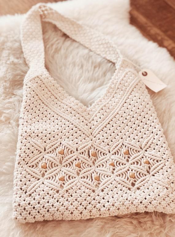 1970s Vintage Macrame Cotton Bag