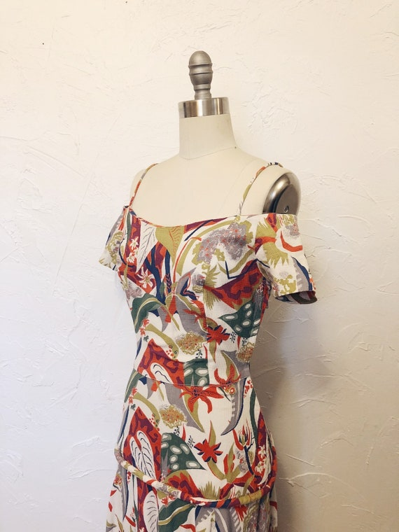 1930s Rare Vintage Cotton Barkcloth Handmade Dress - image 4