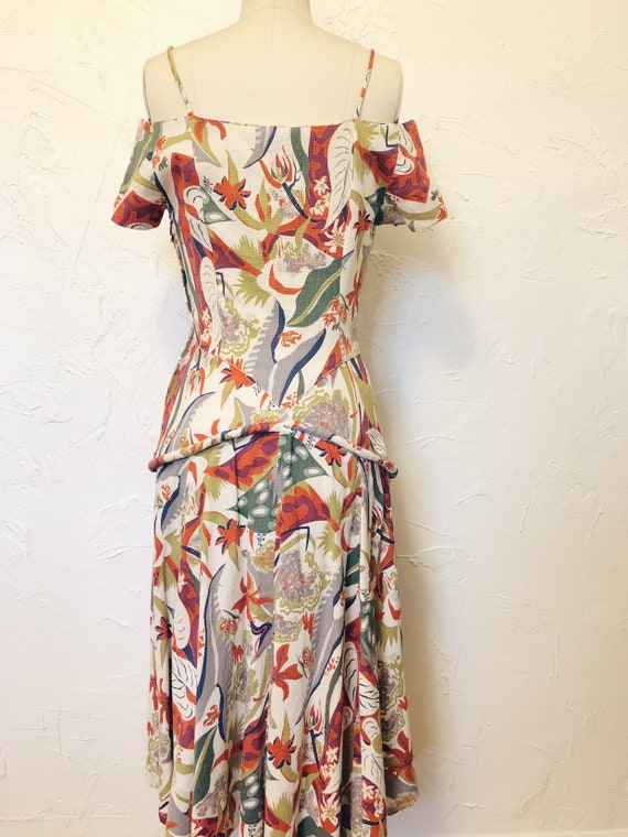 1930s Rare Vintage Cotton Barkcloth Handmade Dress - image 8