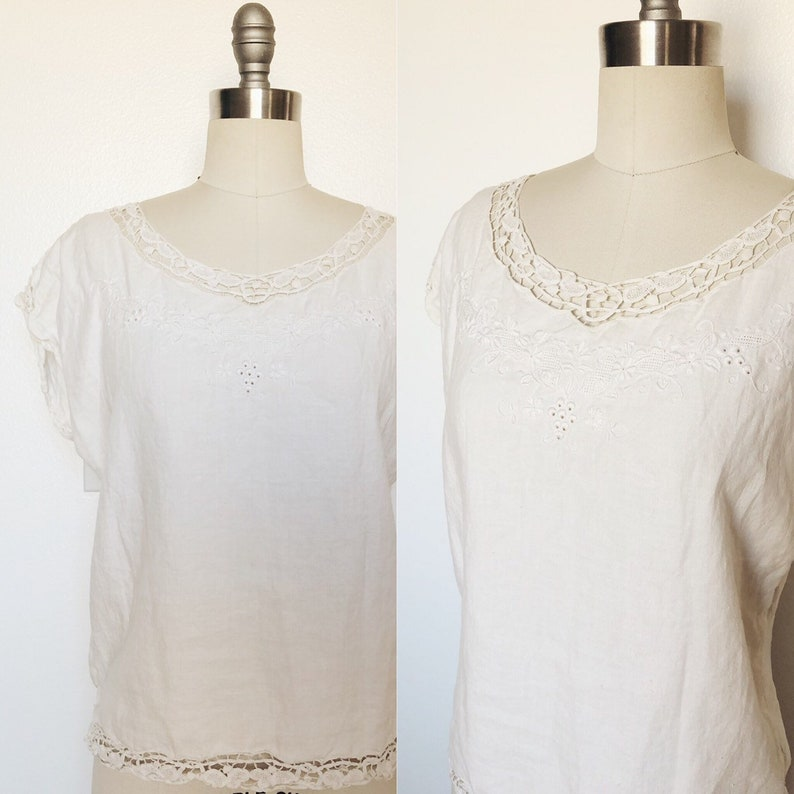 1970s Vintage 100/% Linen Embroidered Blouse Top