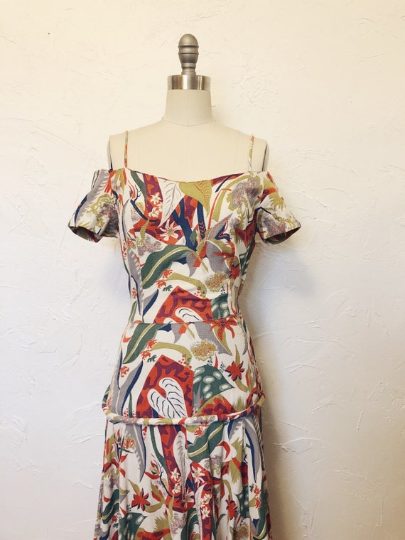 1930s Rare Vintage Cotton Barkcloth Handmade Dress - image 5