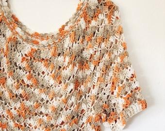 1970s Vintage Crochet Cotton Knit Blouse Top