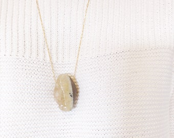 Handcrafted Raw Geode Crystal Quartz Goldfill Necklace .02