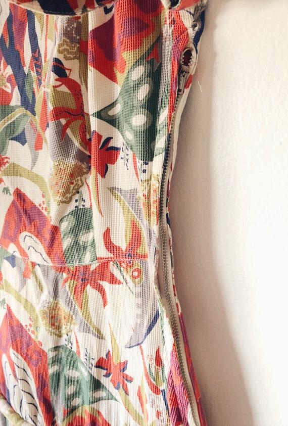 1930s Rare Vintage Cotton Barkcloth Handmade Dress - image 9