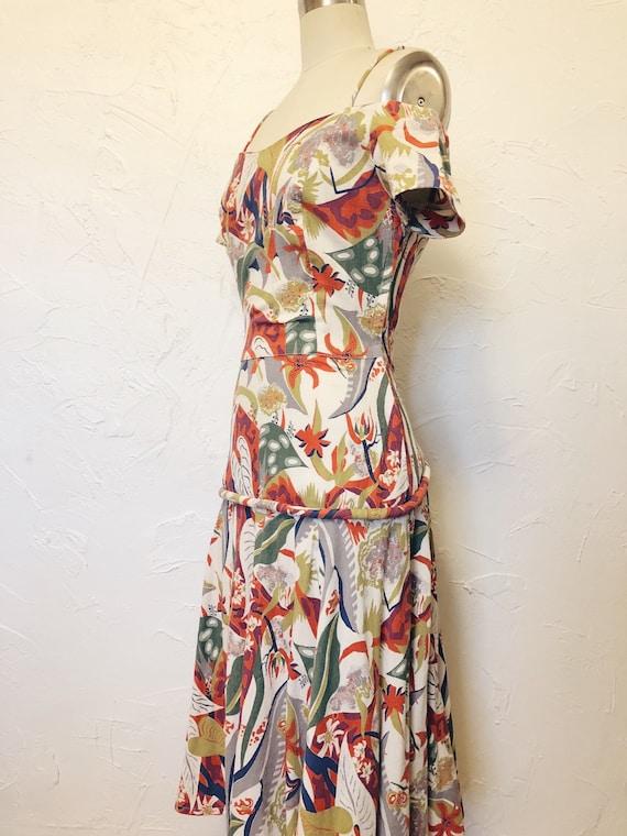 1930s Rare Vintage Cotton Barkcloth Handmade Dress - image 2