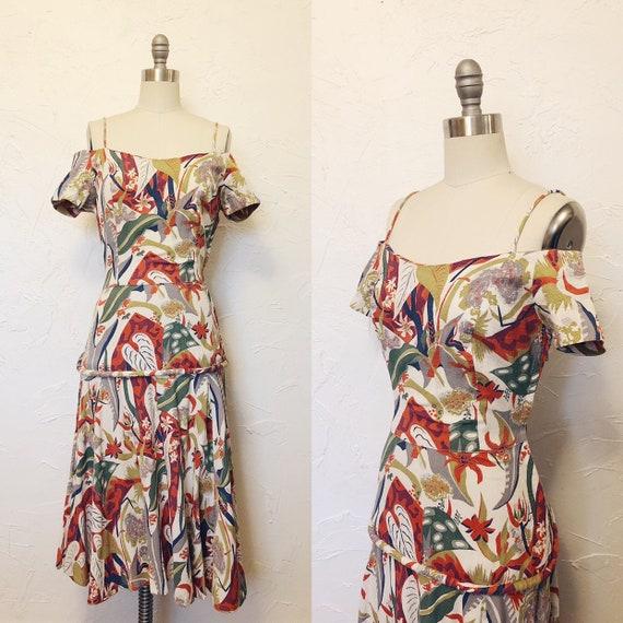 1930s Rare Vintage Cotton Barkcloth Handmade Dress