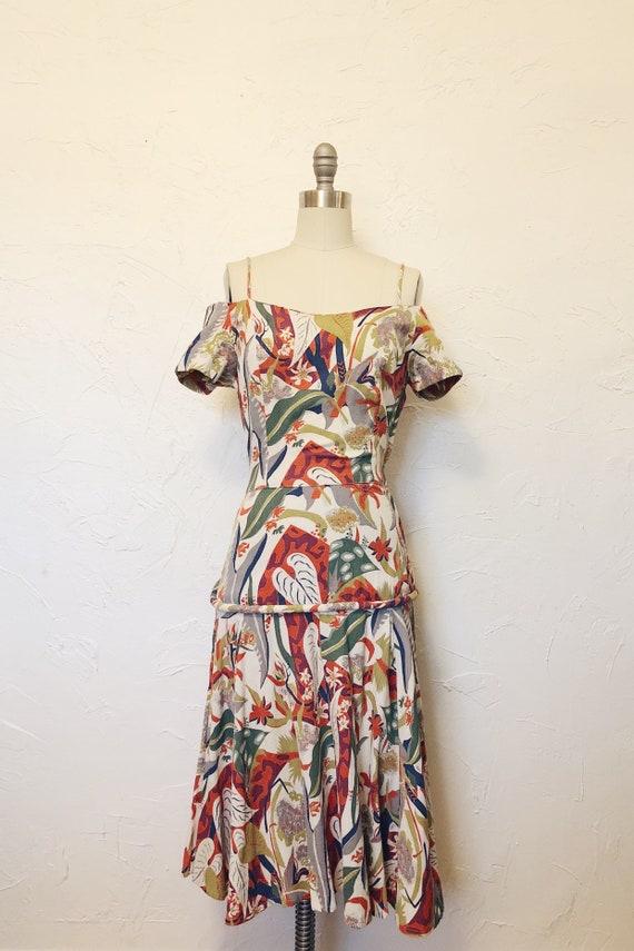 1930s Rare Vintage Cotton Barkcloth Handmade Dress - image 3