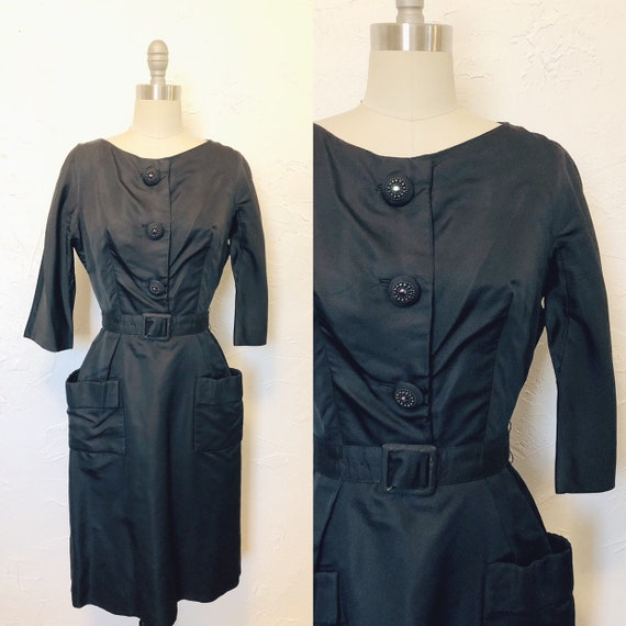 Rare 1950s Vintage Couture Cocktail Evening Dress
