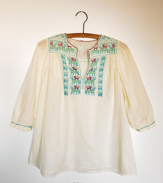 1970s Vintage Handmade Embroidered Cotton Folk Pea