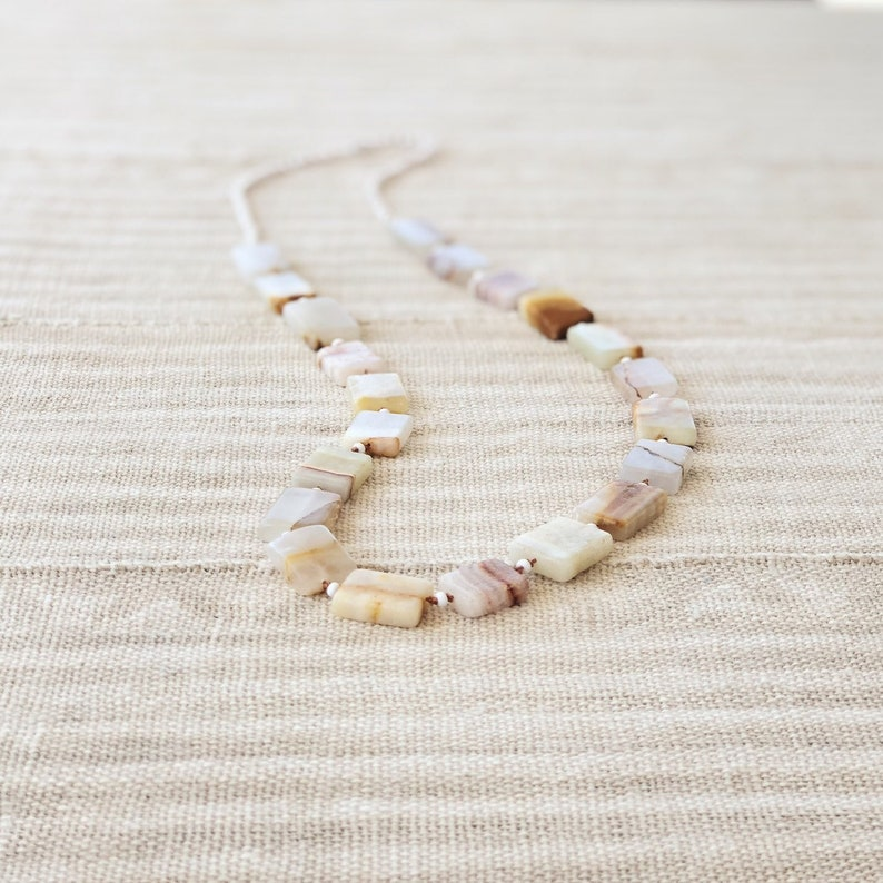 Handmade Banded Agate One of a Kind Necklace on Silk
