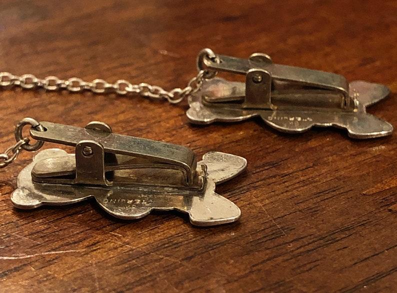 Vintage Sterling Silver Baby Teddy Bear Bib Clips