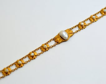 14K Egyptan Revival Bloomed Gold Carter Howe and Co. Art Nouveau Pearl Bracelet